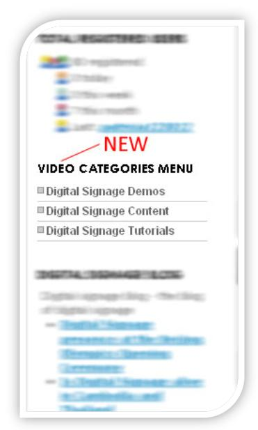 digital signage portal video categories modified