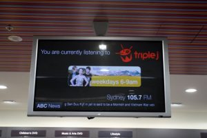 Digital Signage promoting JJJ by streaming audio and ABC streaming news