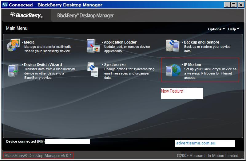 blackberry desktop manager v5.0.1 ip modem