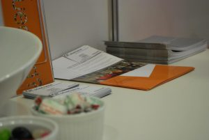 table with pamphlets