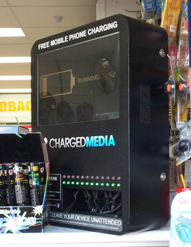 chargedmedia digital signage kiosk mobile phone