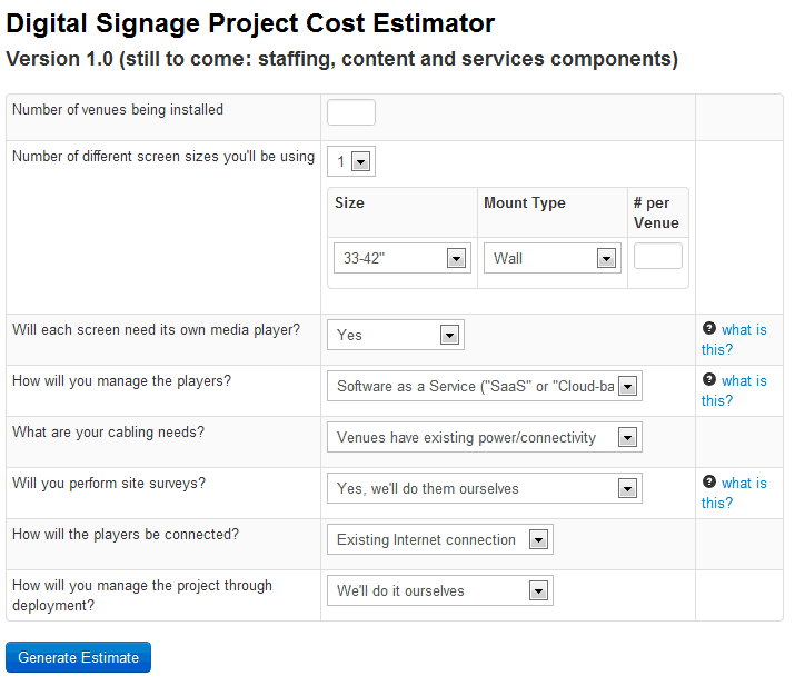 digital signage project cost estimator