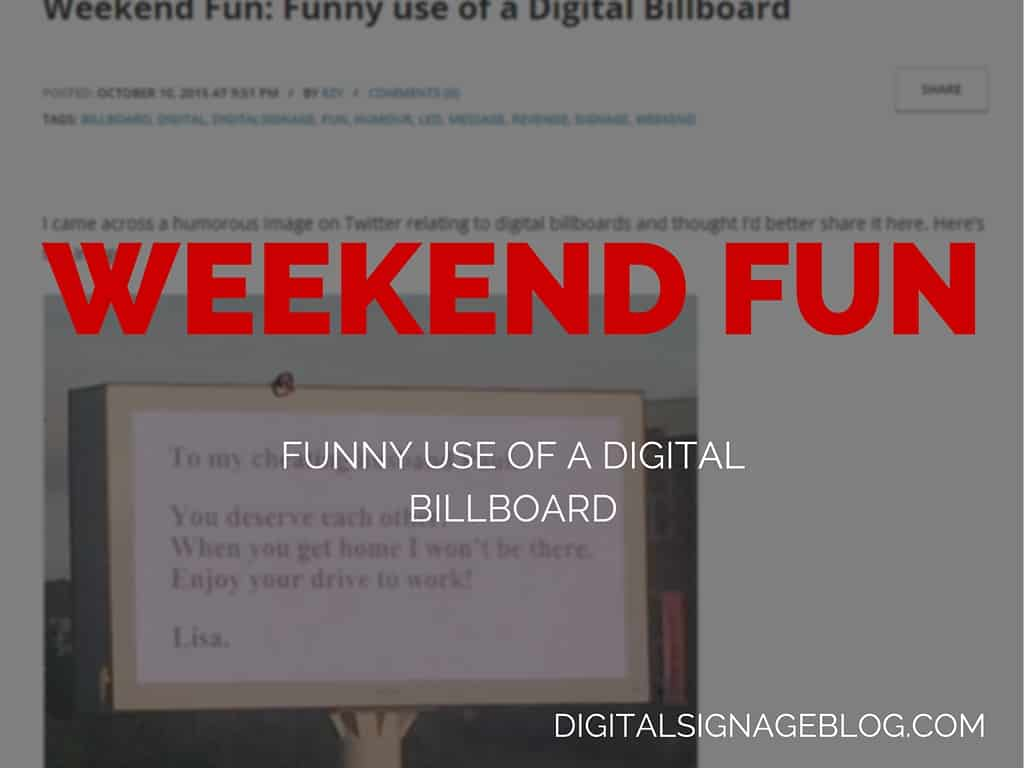 WEEKEND FUN - FUNNY USE OF DIGITAL BILLBOARDS
