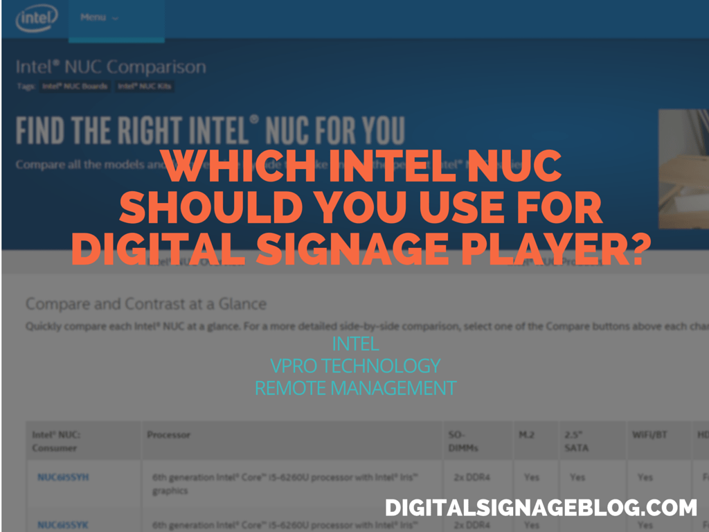 WHICH INTEL NUC SHOULD YOU USE FOR DIGITAL SIGNAGE PLAYER